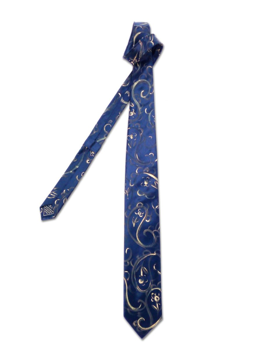 Hand painted tie with gold and bronze paisley design