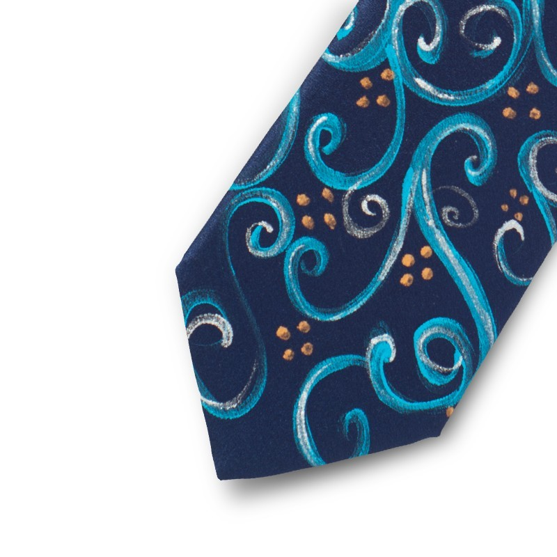 Light blue and silver hand painted satin silk tie