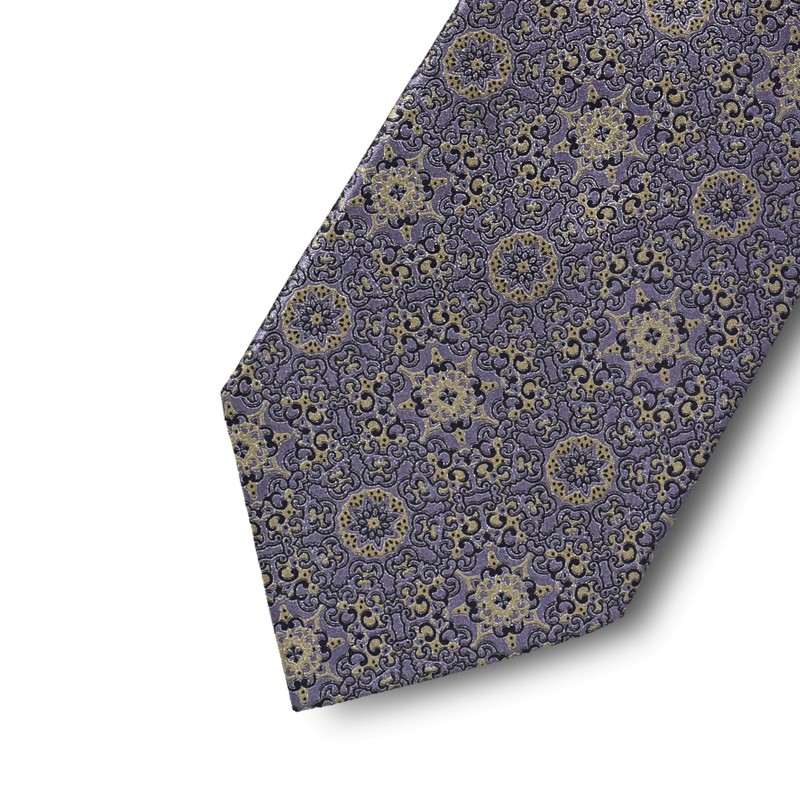 Lilac and gold pattern tie