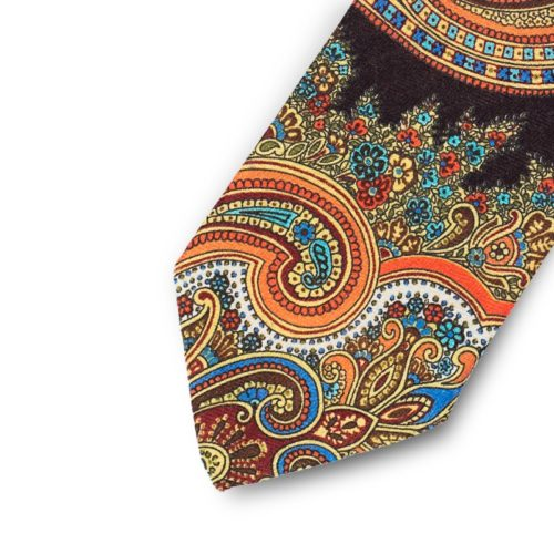 Orange cashmere paisley tie