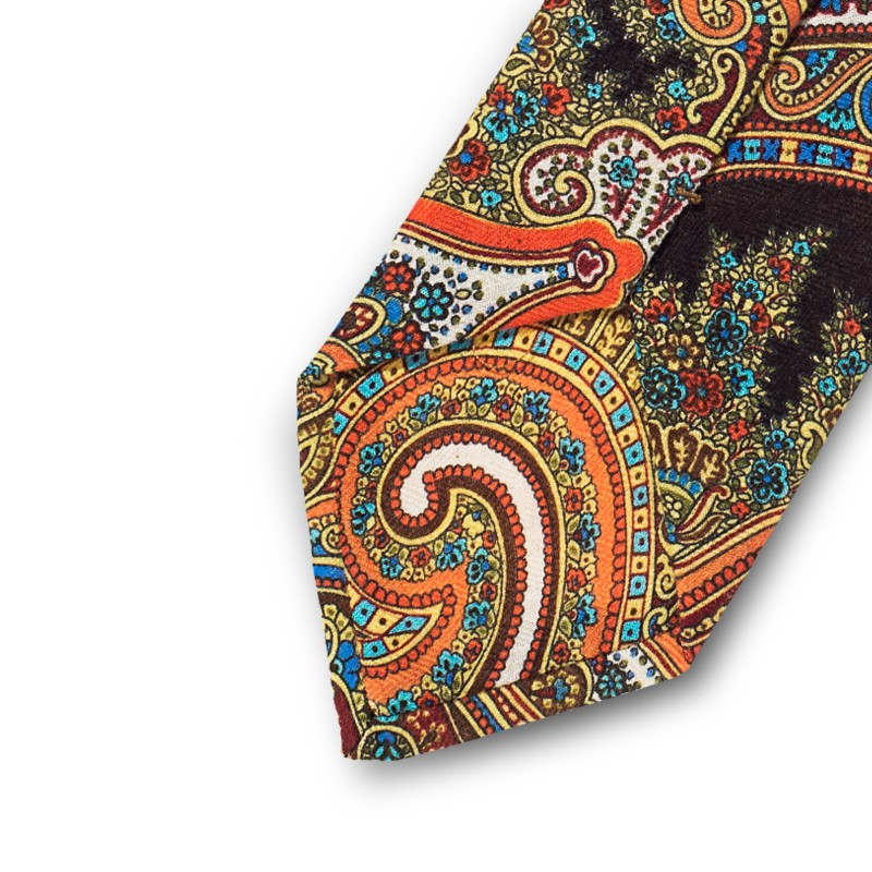Orange cashmere paisley tie