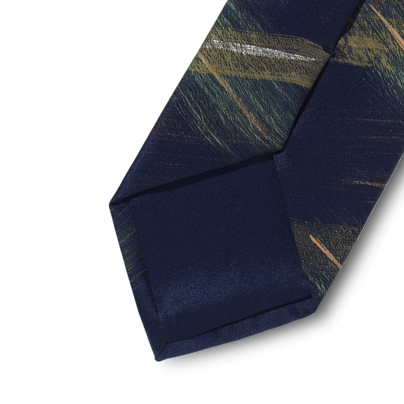 Green and gold hand painted satin silk tie