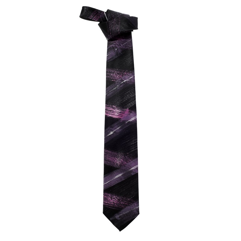 Purple and silver hand painted satin silk tie