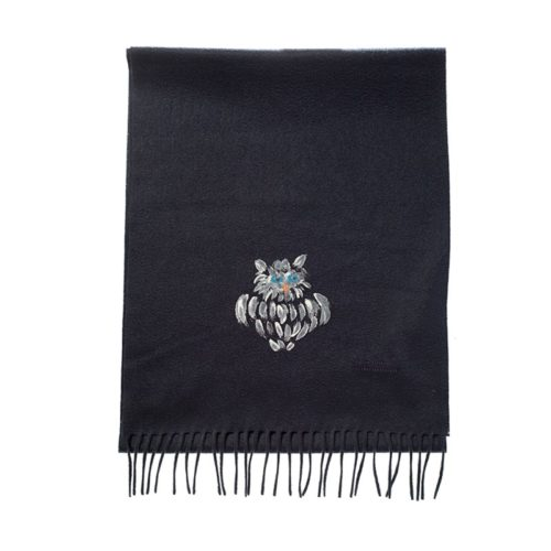 cashmere scarf with hand painted owl