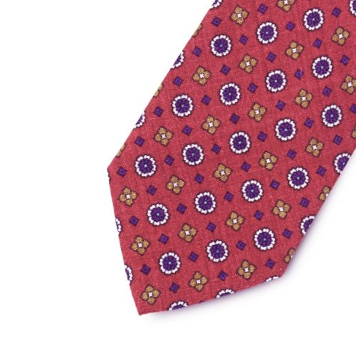Wool pattern tie with floreal microdesign