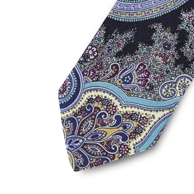 Blue cashmere paisley tie