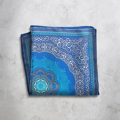 Pochette fantasia azzurra e blu SS16