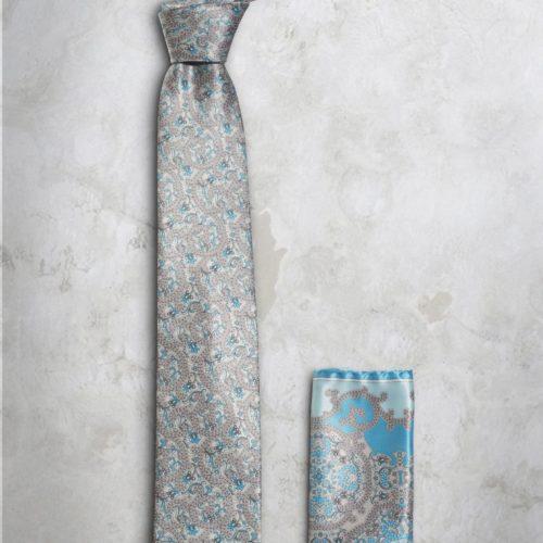 Cravatta e pochette grigio e azzurro SS16