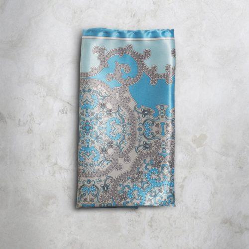 Pochette fantasia floreale grigia e azzurra