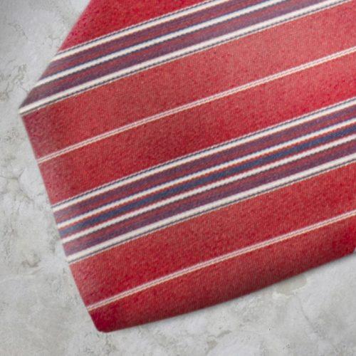 Cravatta a righe rossa, bianca, blu SS16