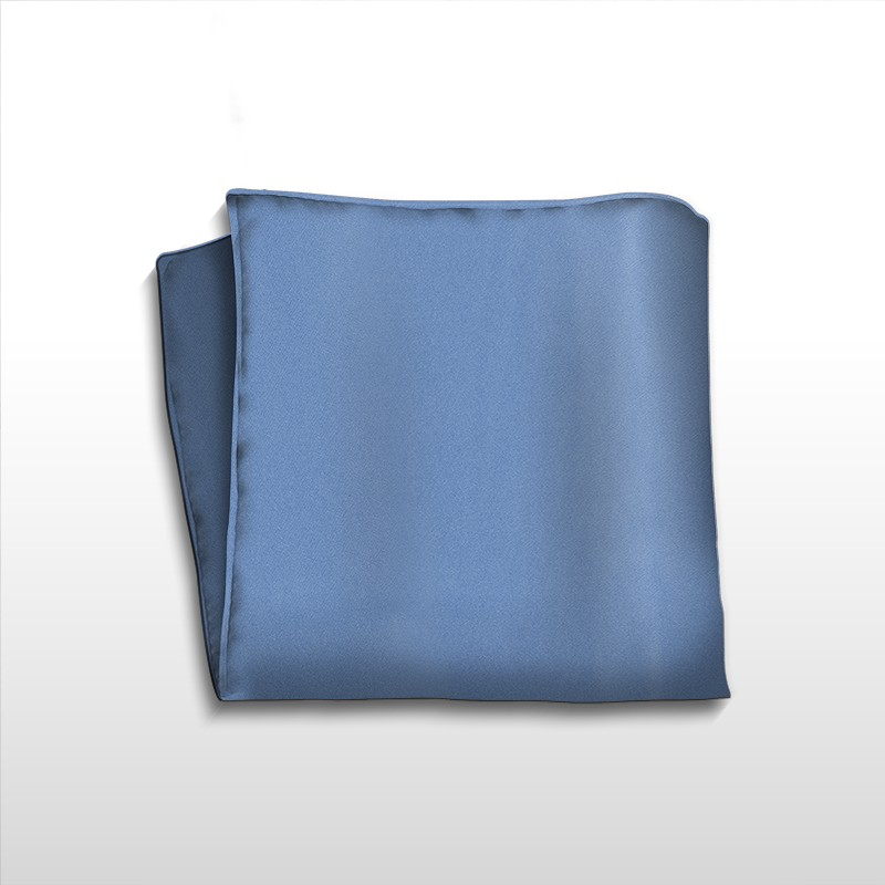 Solid blue handmade silk pochette