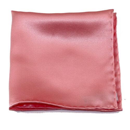 Tailored solid pink silk pocket square, by italo Ferretti