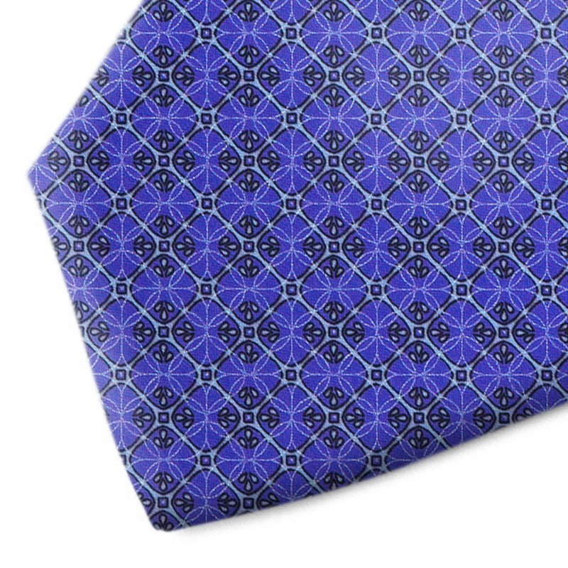 Blue and sky blue patterned silk tie