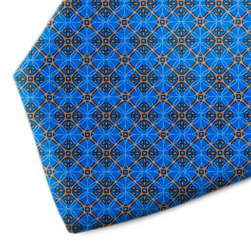 Blue and brown patterned silk tie