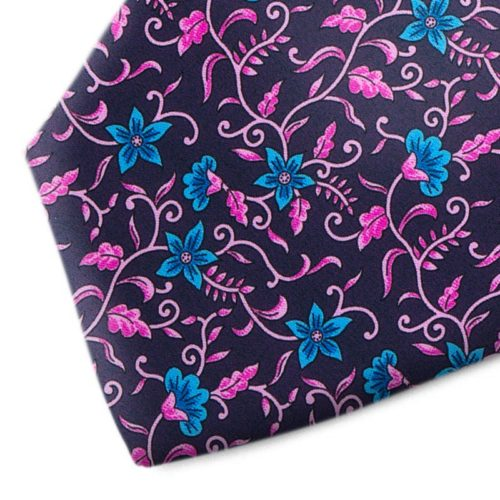 Bulue and fuchsia floral patterned tie