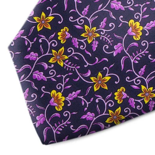 Blue and violet floral patterned silk tie