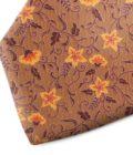 Brown and orange floral patterned silk tie