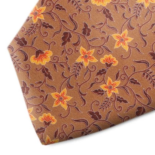 Brown and orange floral patterned silk tie