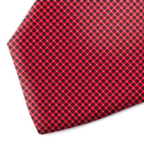 red and black polka dot silk tie