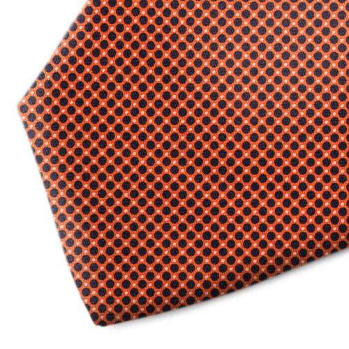 Orange and black polka dot silk tie
