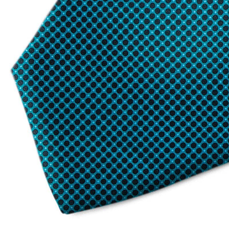 Green water and black polka dot silk tie