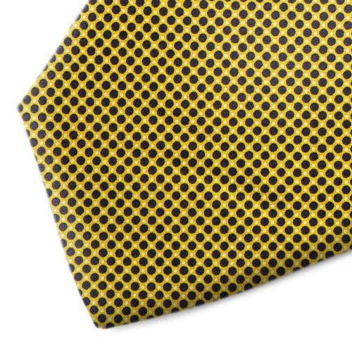 Yellow and black polkadot silk tie