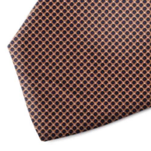 Brown and black polka dot silk tie