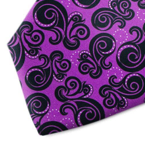 Violet and black patterned silk tie