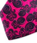 Fuchsia and black patterned silk tie