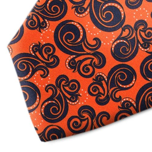 Orange and black patterned silk tie