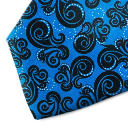 Blue and black patterned silk tie