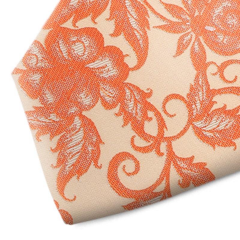 Orange and beige floral patterned silk tie