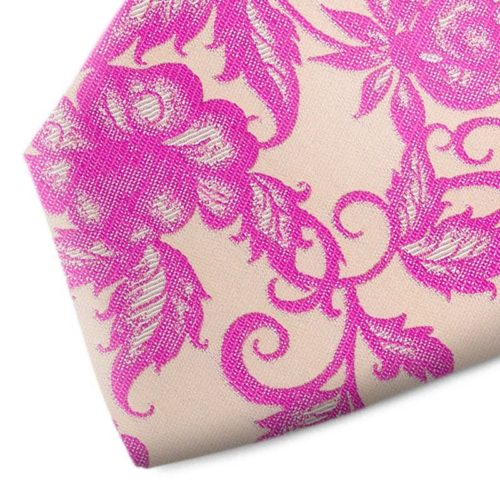 Lilac and beige floral patterned silk tie