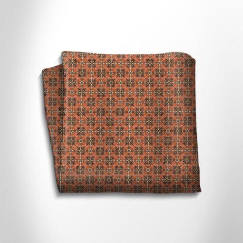 Orange and gold patterned silk pocket square