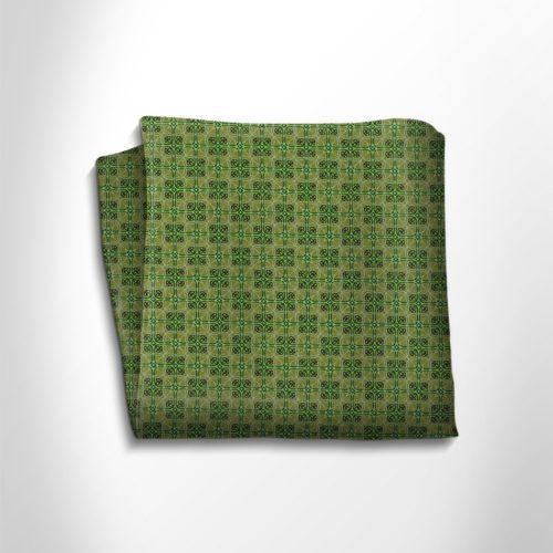 Green patterned silk pocket square
