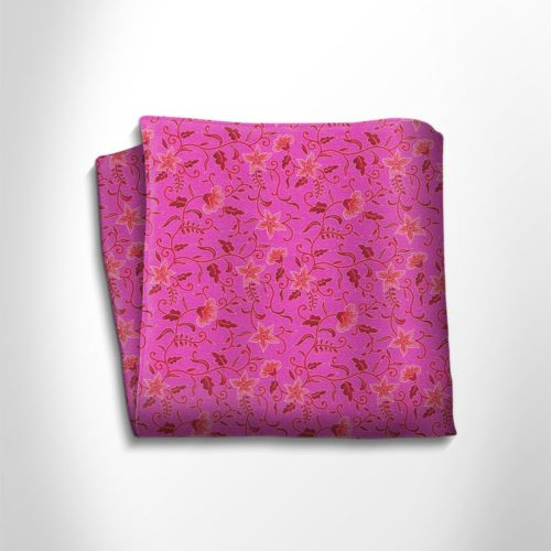 Fuchsia and pink floral patterned silk pocket square