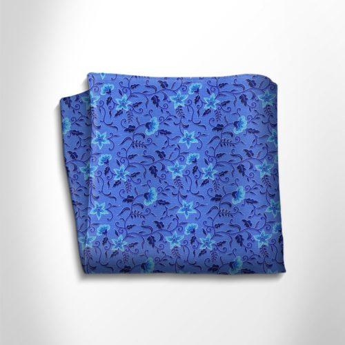 Blue and sky blue floral patterned silk pocket square
