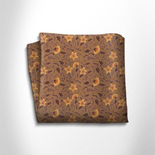 Brown and orange floral patterned silk pocket square