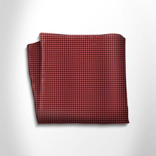Red and black floral patterned silk pocket square