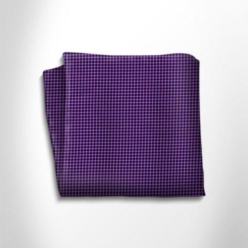 Violet and black polka dot silk pocket square