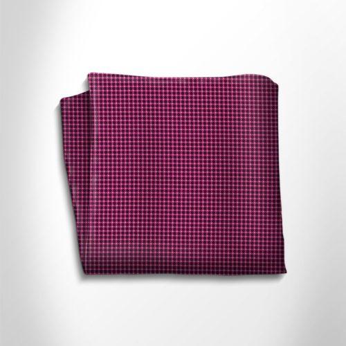 Fuchsia and black polka dot silk pocket square