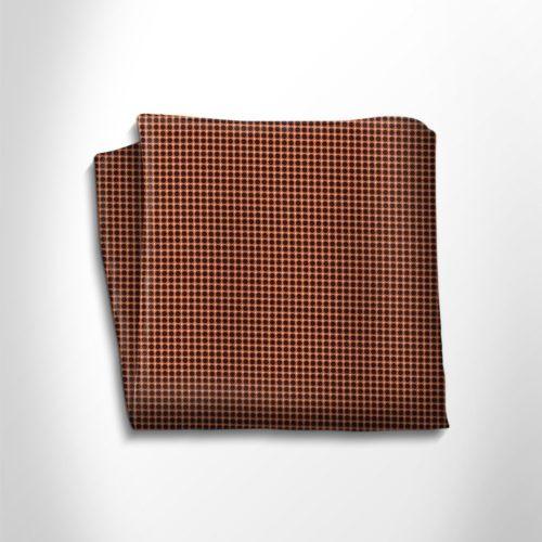 Orange and black polka dot silk pocket square