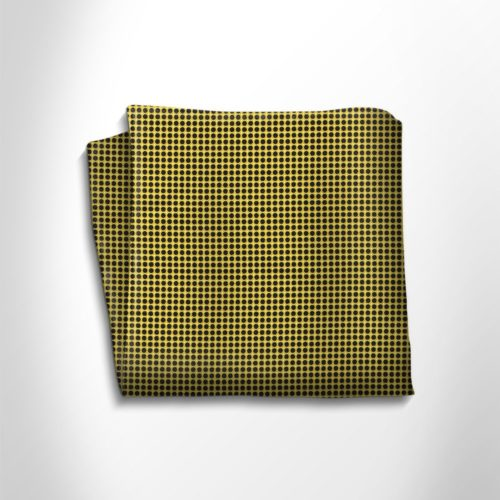 Yellow and black silk pocket square