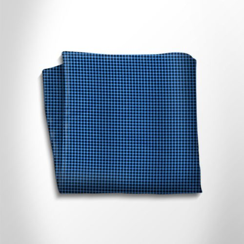 Blue black silk pocket square