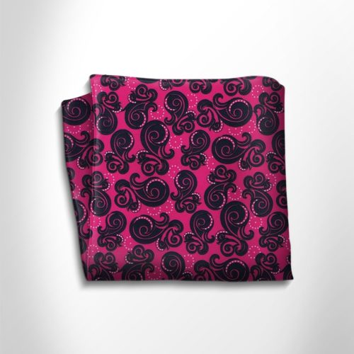 Fuchsia and black patterned silk pocket square