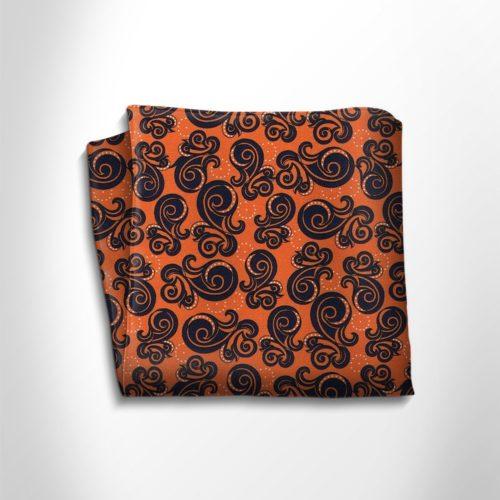 Orange and black patterned silk pocket square