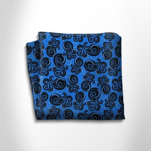 Violet and black patterned silk pocket square