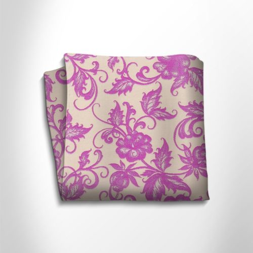 Lilac and beige floral patterned silk pocket square