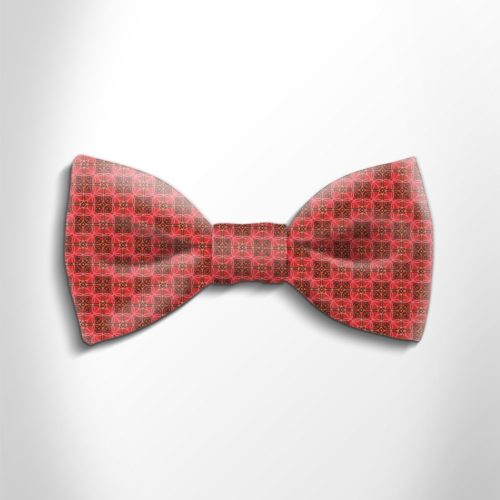Red and orange patterned silk bow tie