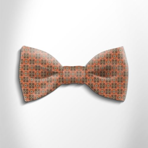 Orange and gold patterned silk bow tie